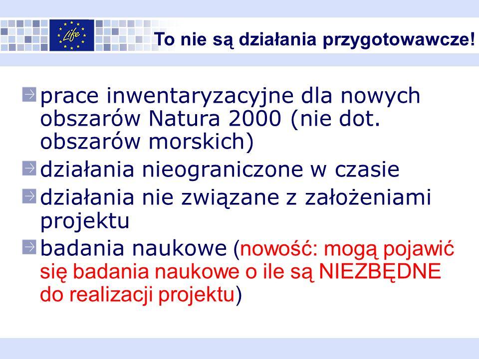 prace inwentaryzacyjne dla nowych obszarów Natura 2000 (nie dot.