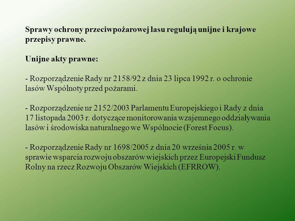 Krajowe akty prawne: - Ustawa o lasach z dnia 28 września 1991 r.