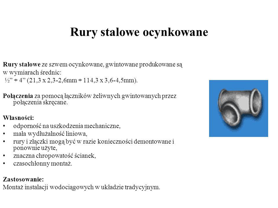 Rury stalowe ocynkowane Rury stalowe ze szwem ocynkowane, gwintowane produkowane są w wymiarach średnic: ½ ÷ 4 (21,3 x 2,3-2,6mm ÷ 114,3 x 3,6-4,5mm).