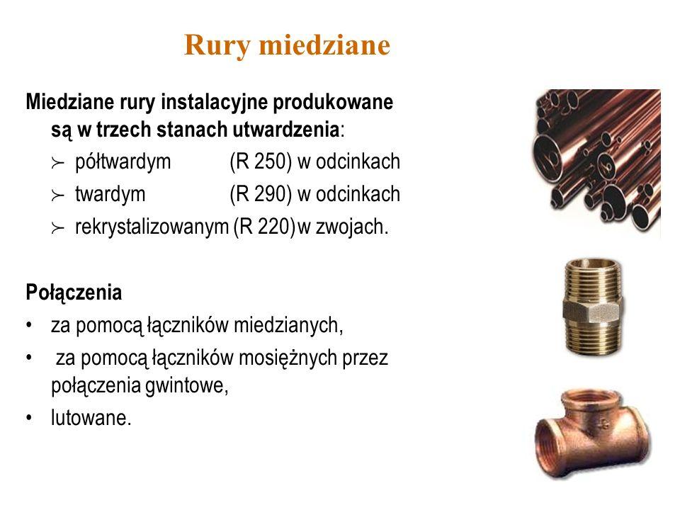 Rury miedziane Miedziane rury instalacyjne produkowane są w trzech stanach utwardzenia : półtwardym (R 250) w odcinkach twardym (R 290) w odcinkach re