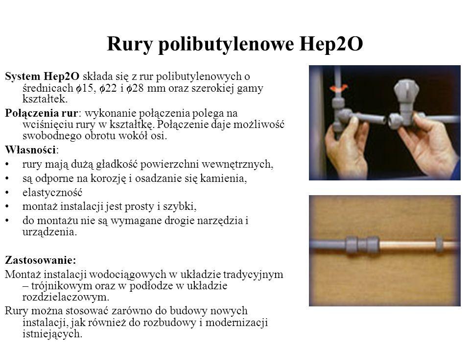 Rury polibutylenowe Hep2O System Hep2O składa się z rur polibutylenowych o średnicach 15, 22 i 28 mm oraz szerokiej gamy kształtek. Połączenia rur: wy