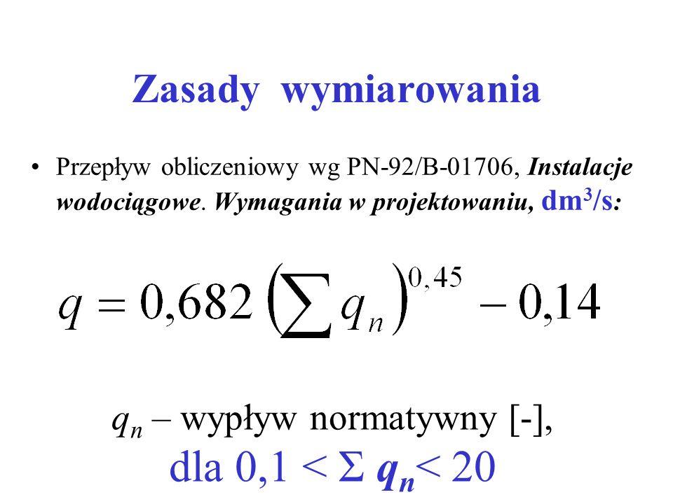 Zasady wymiarowania Przepływ obliczeniowy wg PN-92/B-01706, Instalacje wodociągowe. Wymagania w projektowaniu, dm 3 /s : q n – wypływ normatywny [-],