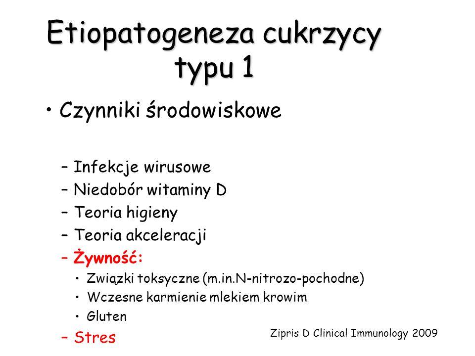 Etiopatogeneza cukrzycy typu 1 Czynniki środowiskowe –Infekcje wirusowe –Niedobór witaminy D –Teoria higieny –Teoria akceleracji –Żywność: Związki tok