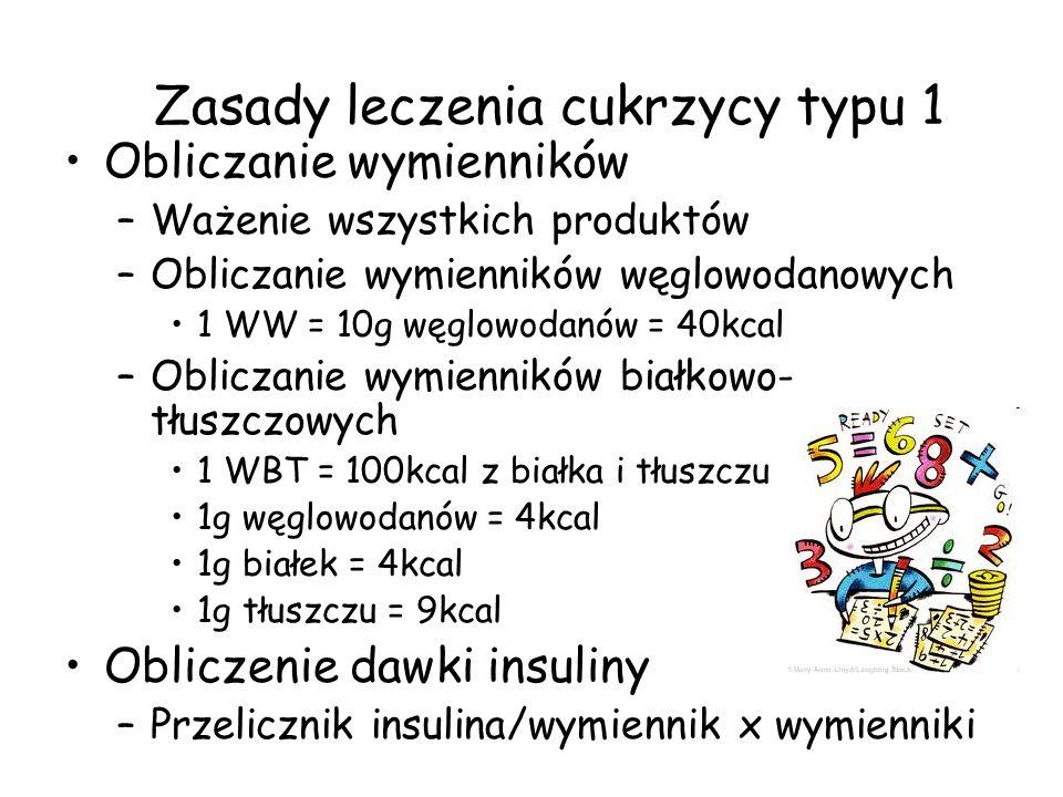 Zasady leczenia cukrzycy typu 1 Obliczanie wymienników –Ważenie wszystkich produktów –Obliczanie wymienników węglowodanowych 1 WW = 10g węglowodanów =