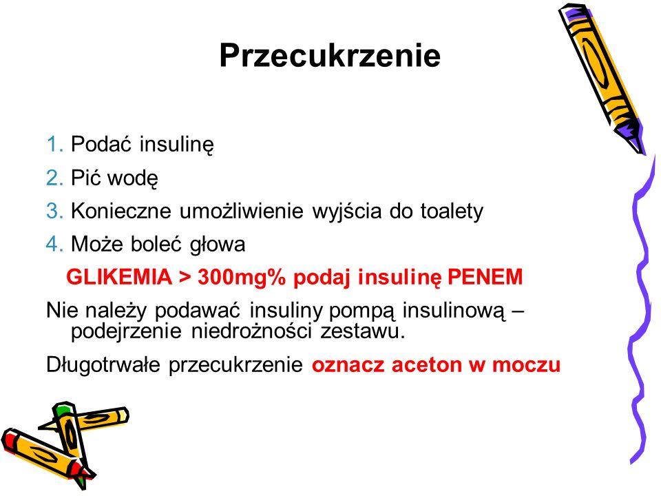 1.Podać insulinę 2.Pić wodę 3.Konieczne umożliwienie wyjścia do toalety 4.Może boleć głowa GLIKEMIA > 300mg% podaj insulinę PENEM Nie należy podawać i