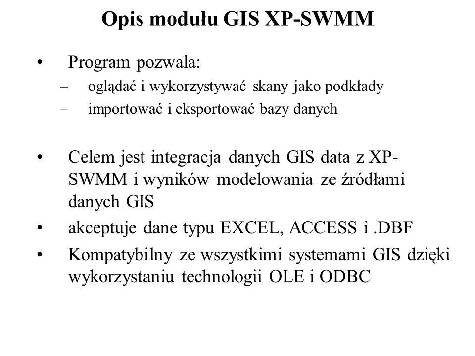 Opis modułu GIS XP-SWMM Program pozwala: –oglądać i wykorzystywać skany jako podkłady –importować i eksportować bazy danych Celem jest integracja danych GIS data z XP- SWMM i wyników modelowania ze źródłami danych GIS akceptuje dane typu EXCEL, ACCESS i.DBF Kompatybilny ze wszystkimi systemami GIS dzięki wykorzystaniu technologii OLE i ODBC
