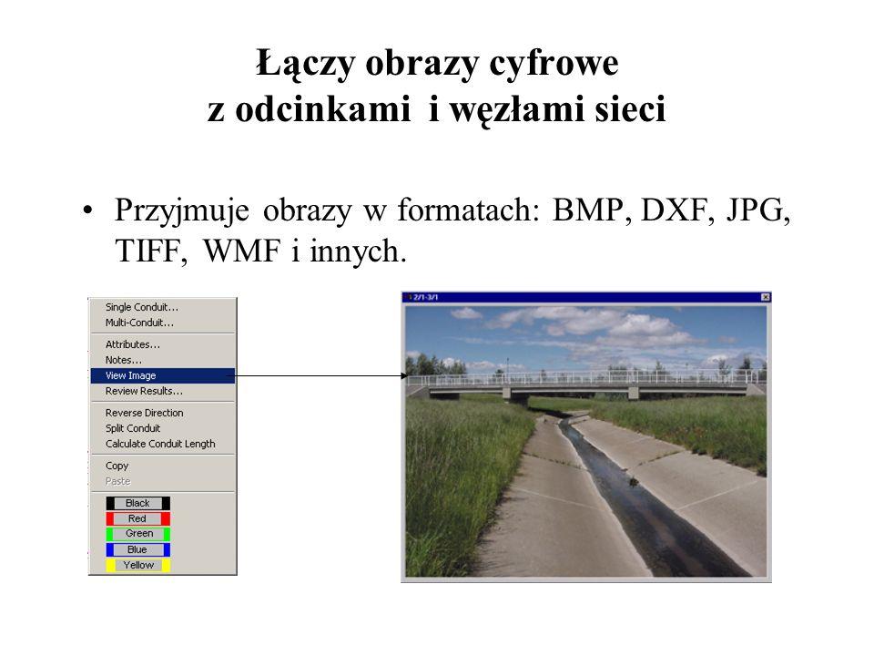 Łączy obrazy cyfrowe z odcinkami i węzłami sieci Przyjmuje obrazy w formatach: BMP, DXF, JPG, TIFF, WMF i innych.