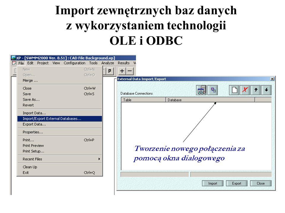 Import zewnętrznych baz danych z wykorzystaniem technologii OLE i ODBC Tworzenie nowego połączenia za pomocą okna dialogowego