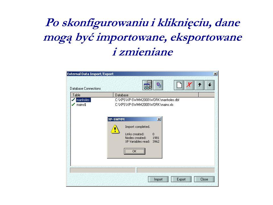 Po skonfigurowaniu i kliknięciu, dane mogą być importowane, eksportowane i zmieniane