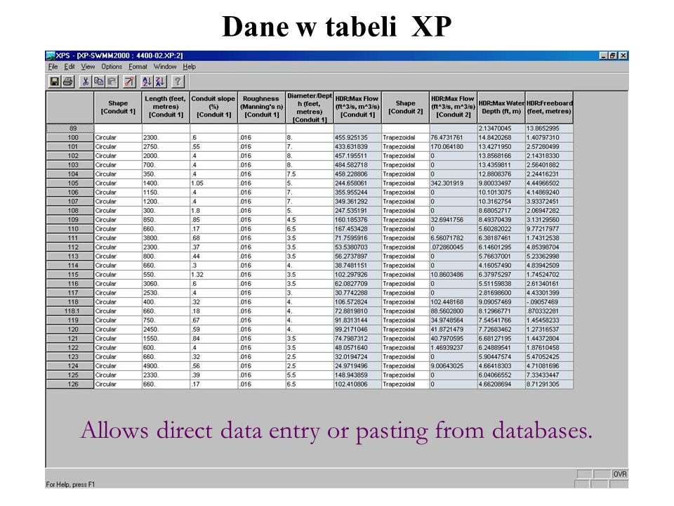 Dane w tabeli XP Allows direct data entry or pasting from databases.