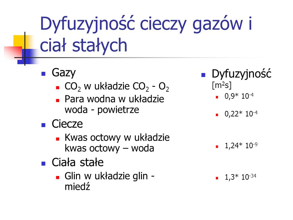 Dyfuzyjność cieczy gazów i ciał stałych Gazy CO 2 w układzie CO 2 - O 2 Para wodna w układzie woda - powietrze Ciecze Kwas octowy w układzie kwas octo