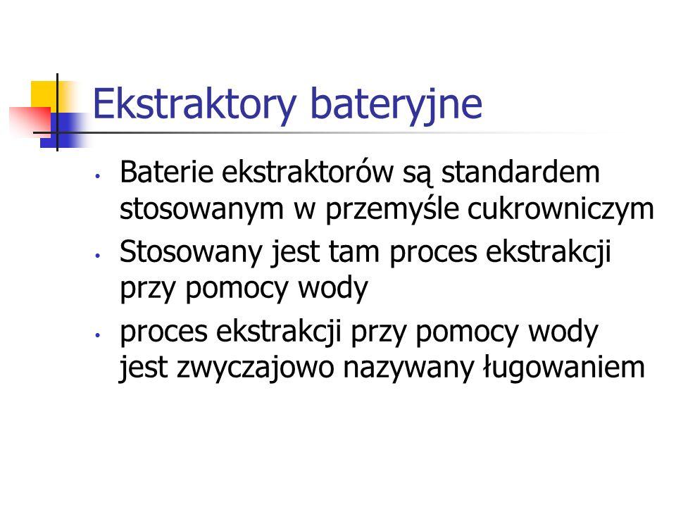 Ekstraktory bateryjne Baterie ekstraktorów są standardem stosowanym w przemyśle cukrowniczym Stosowany jest tam proces ekstrakcji przy pomocy wody pro