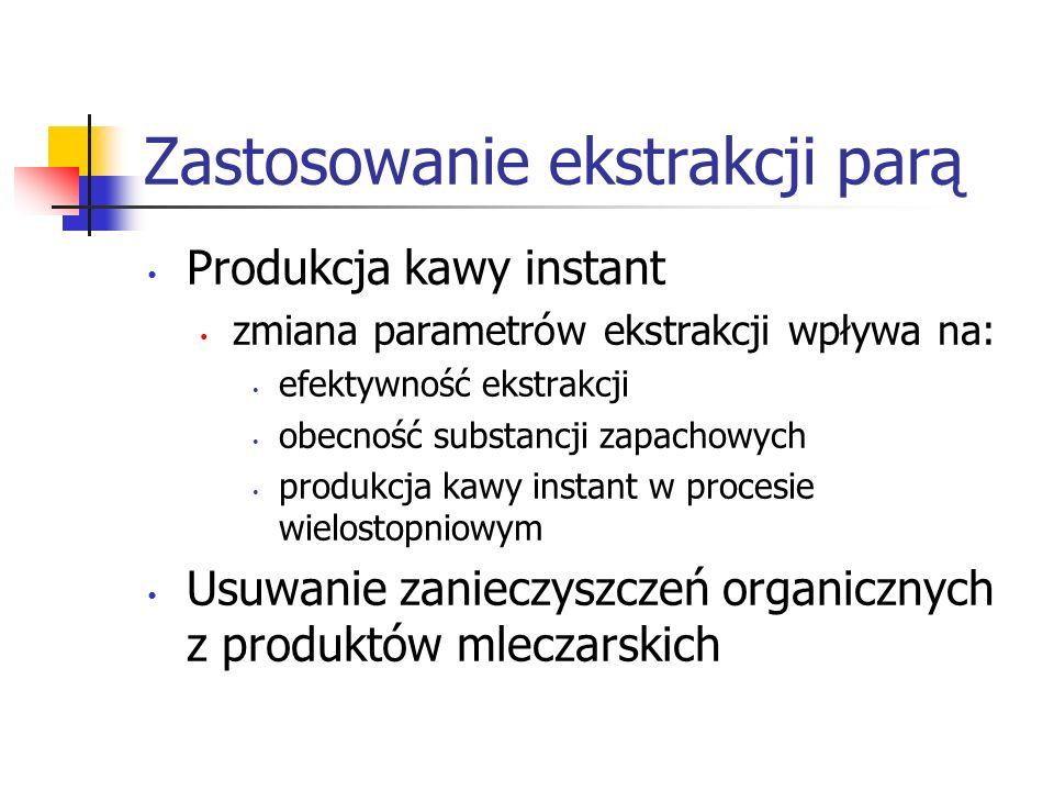 Zastosowanie ekstrakcji parą Produkcja kawy instant zmiana parametrów ekstrakcji wpływa na: efektywność ekstrakcji obecność substancji zapachowych pro