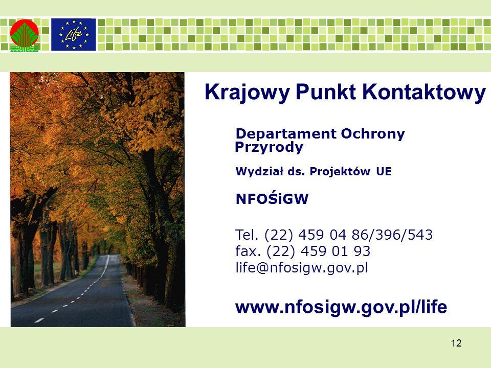12 Departament Ochrony Przyrody Wydział ds. Projektów UE NFOŚiGW Tel.