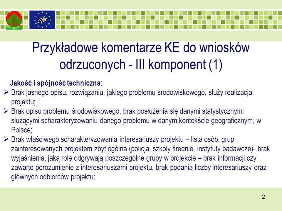 Przykładowe komentarze KE do wniosków odrzuconych - III komponent (1) 2 Jakość i spójność techniczna: Brak jasnego opisu, rozwiązaniu, jakiego problemu środowiskowego, służy realizacja projektu; Brak opisu problemu środowiskowego, brak posłużenia się danymi statystycznymi służącymi scharakteryzowaniu danego problemu w danym kontekście geograficznym, w Polsce; Brak właściwego scharakteryzowania interesariuszy projektu – lista osób, grup zainteresowanych projektem zbyt ogólna (policja, szkoły średnie, instytuty badawcze)- brak wyjaśnienia, jaką rolę odgrywają poszczególne grupy w projekcie – brak informacji czy zawarto porozumienie z interesariuszami projektu, brak podania liczby interesariuszy oraz głównych odbiorców projektu;
