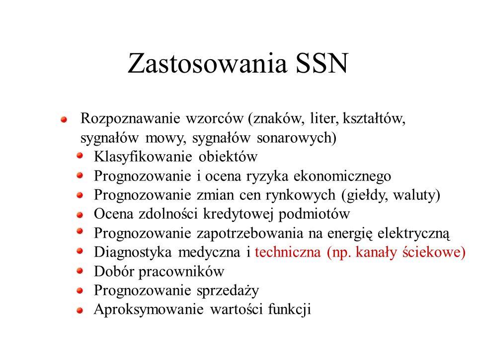 Zastosowania SSN Rozpoznawanie wzorców (znaków, liter, kształtów, sygnałów mowy, sygnałów sonarowych) Klasyfikowanie obiektów Prognozowanie i ocena ry
