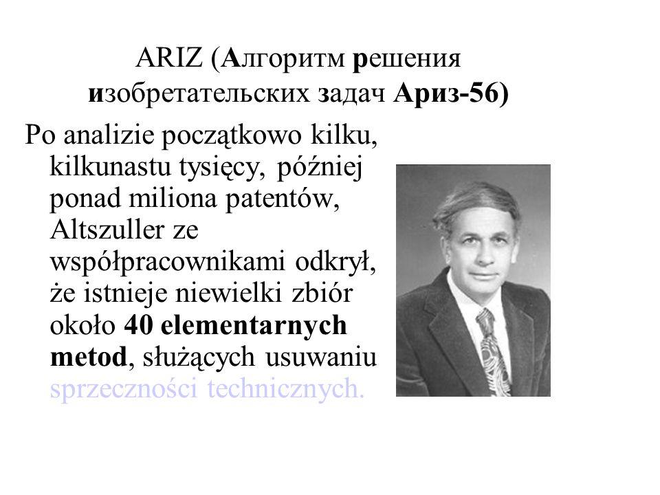 ARIZ (Алгоритм решения изобретательских задач Aриз-56) Po analizie początkowo kilku, kilkunastu tysięcy, później ponad miliona patentów, Altszuller ze