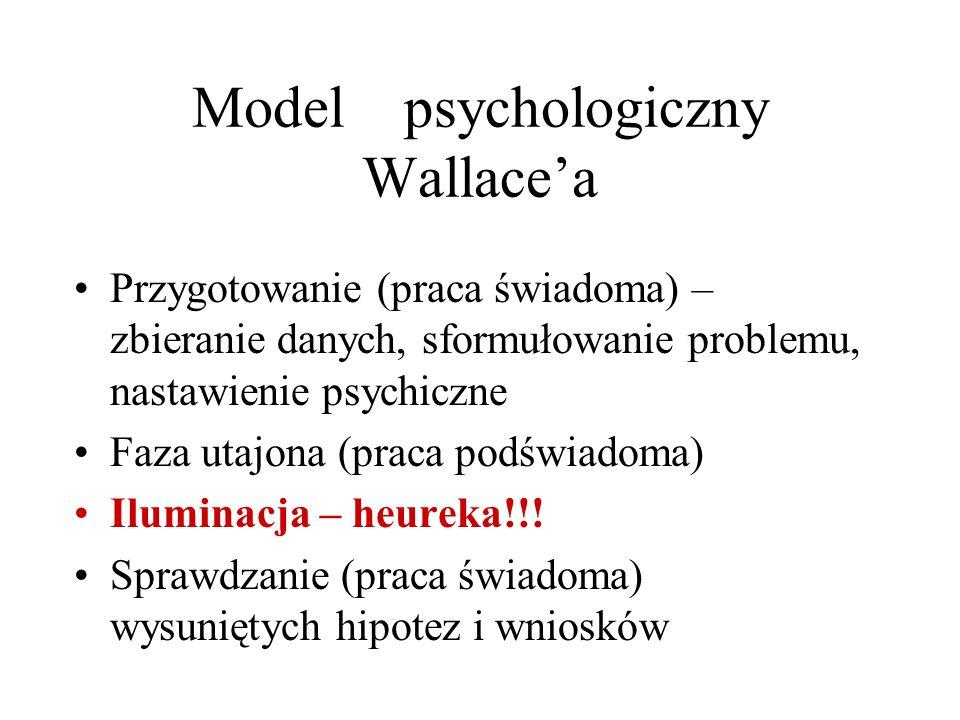 Model psychologiczny Wallacea Przygotowanie (praca świadoma) – zbieranie danych, sformułowanie problemu, nastawienie psychiczne Faza utajona (praca po