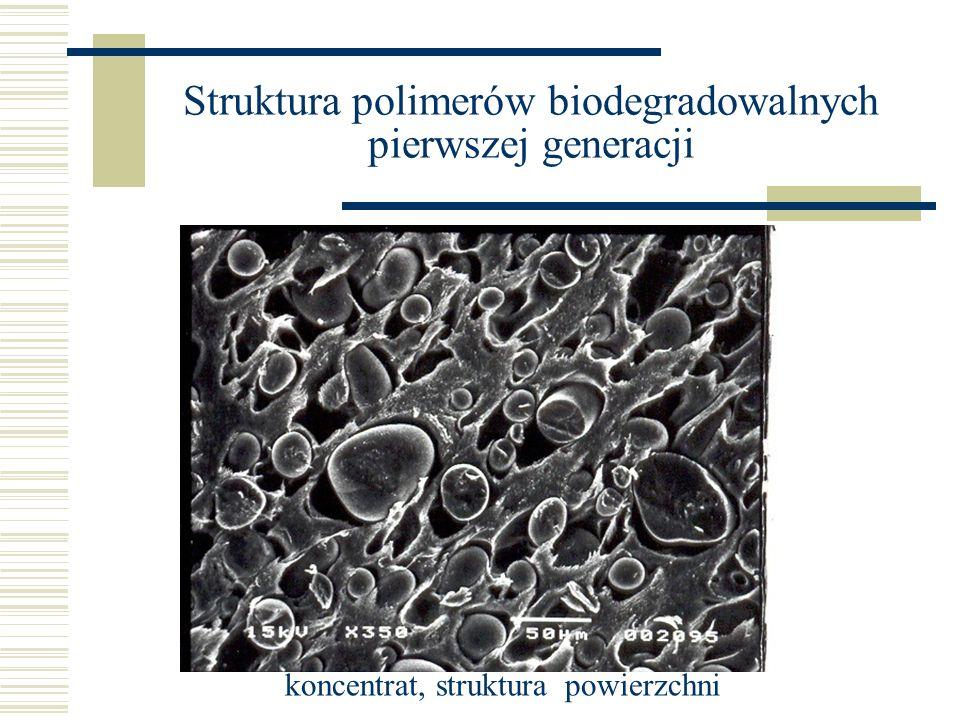 Struktura polimerów biodegradowalnych pierwszej generacji koncentrat, struktura powierzchni