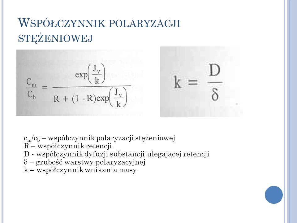 W SPÓŁCZYNNIK POLARYZACJI STĘŻENIOWEJ c m /c b – współczynnik polaryzacji stężeniowej R – współczynnik retencji D - współczynnik dyfuzji substancji ul