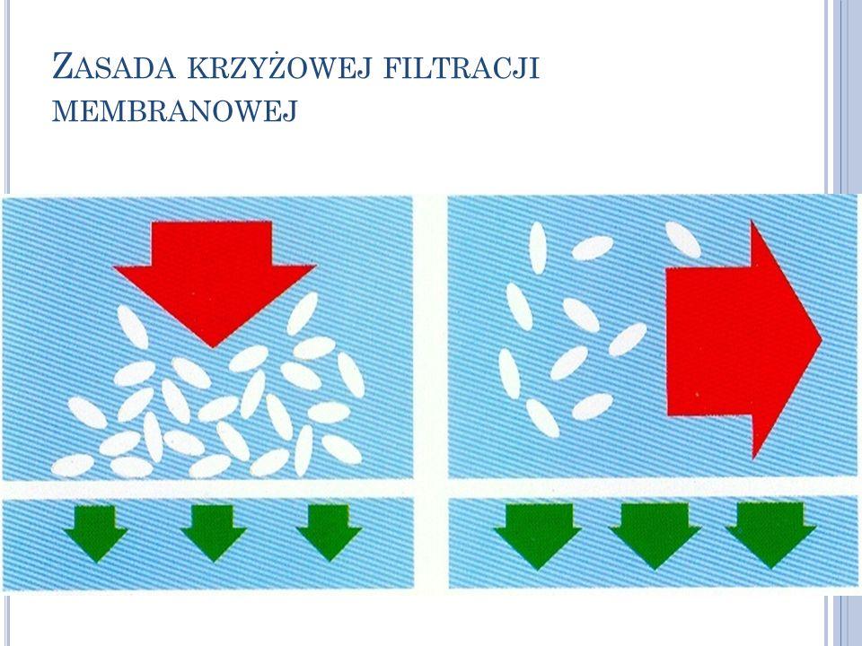 G ŁÓWNE TYPY PROCESÓW MEMBRANOWYCH Różnica ciśnień ΔpRóżnica stężeń (aktywności) Δc MikrofiltracjaSeparacja gazów UltrafiltracjaPerwaporacja NanofiltracjaDestylacja membranowa Odwrócona osmozaMembrany ciekłe i katalityczne Dializa