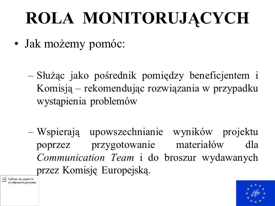 ROLA MONITORUJĄCYCH Jak możemy pomóc: –Służąc jako pośrednik pomiędzy beneficjentem i Komisją – rekomendując rozwiązania w przypadku wystąpienia problemów –Wspierają upowszechnianie wyników projektu poprzez przygotowanie materiałów dla Communication Team i do broszur wydawanych przez Komisję Europejską.