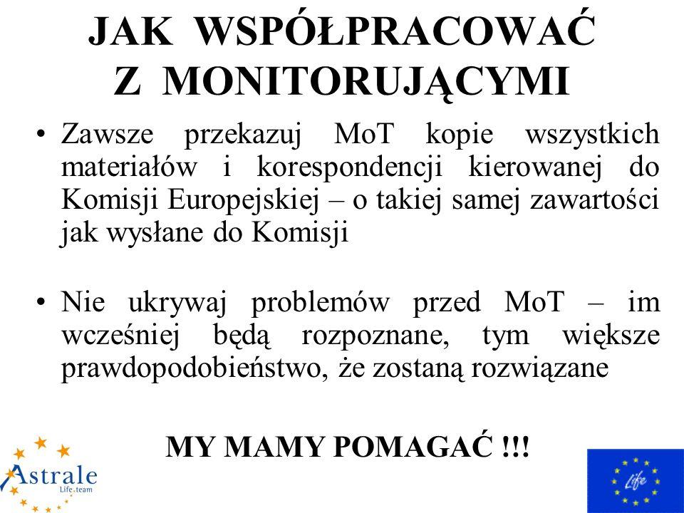 JAK WSPÓŁPRACOWAĆ Z MONITORUJĄCYMI Zawsze przekazuj MoT kopie wszystkich materiałów i korespondencji kierowanej do Komisji Europejskiej – o takiej samej zawartości jak wysłane do Komisji Nie ukrywaj problemów przed MoT – im wcześniej będą rozpoznane, tym większe prawdopodobieństwo, że zostaną rozwiązane MY MAMY POMAGAĆ !!!