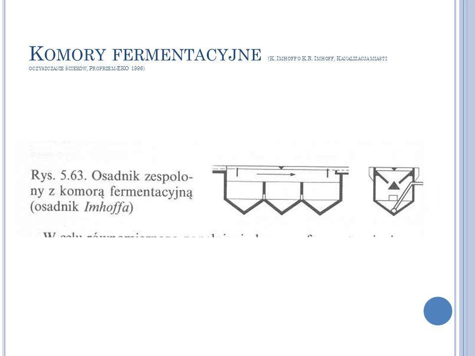 K OMORY FERMENTACYJNE (K. I MHOFF O K.R. I MHOFF, K ANALIZACJA MIAST I OCZYSZCZANIE ŚCIEKÓW, P ROPRZEM -EKO 1996)