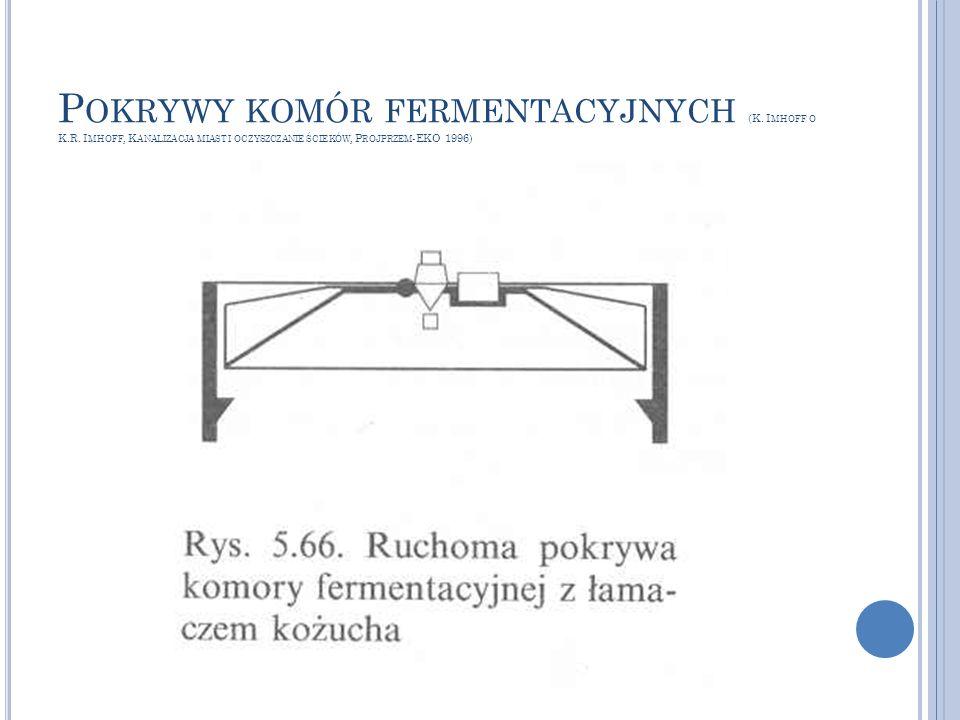 P OKRYWY KOMÓR FERMENTACYJNYCH (K. I MHOFF O K.R. I MHOFF, K ANALIZACJA MIAST I OCZYSZCZANIE ŚCIEKÓW, P ROJPRZEM -EKO 1996)