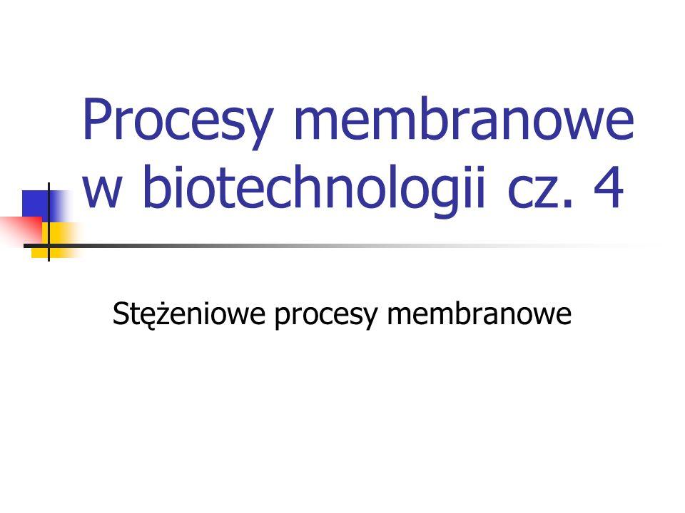 Procesy membranowe w biotechnologii cz. 4 Stężeniowe procesy membranowe