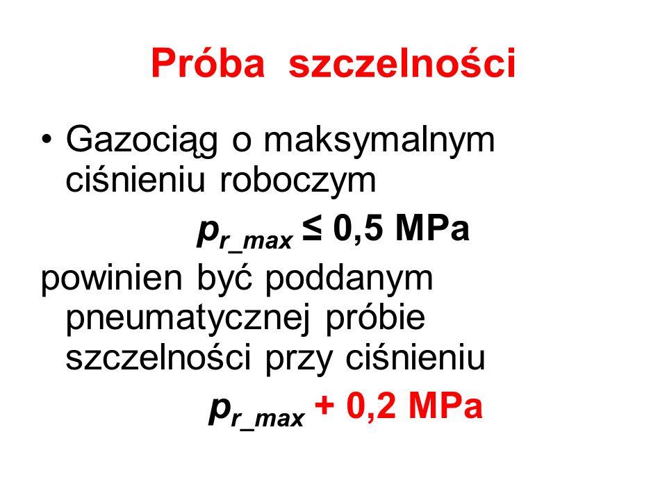 Próba szczelności Gazociąg o maksymalnym ciśnieniu roboczym p r_max 0,5 MPa powinien być poddanym pneumatycznej próbie szczelności przy ciśnieniu p r_