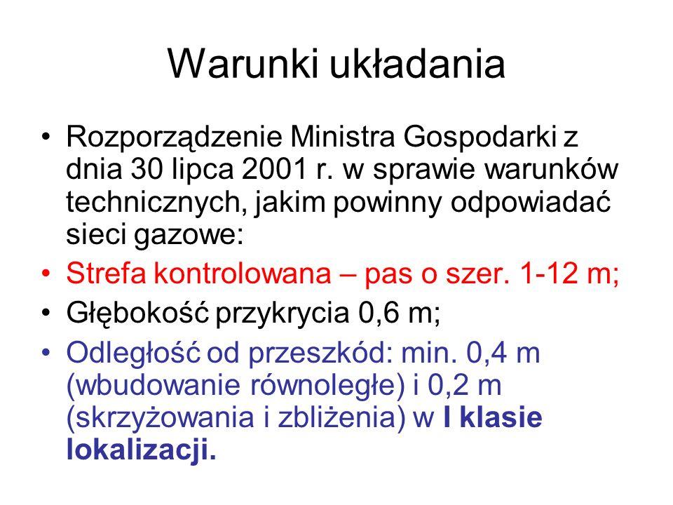 Warunki układania Rozporządzenie Ministra Gospodarki z dnia 30 lipca 2001 r. w sprawie warunków technicznych, jakim powinny odpowiadać sieci gazowe: S