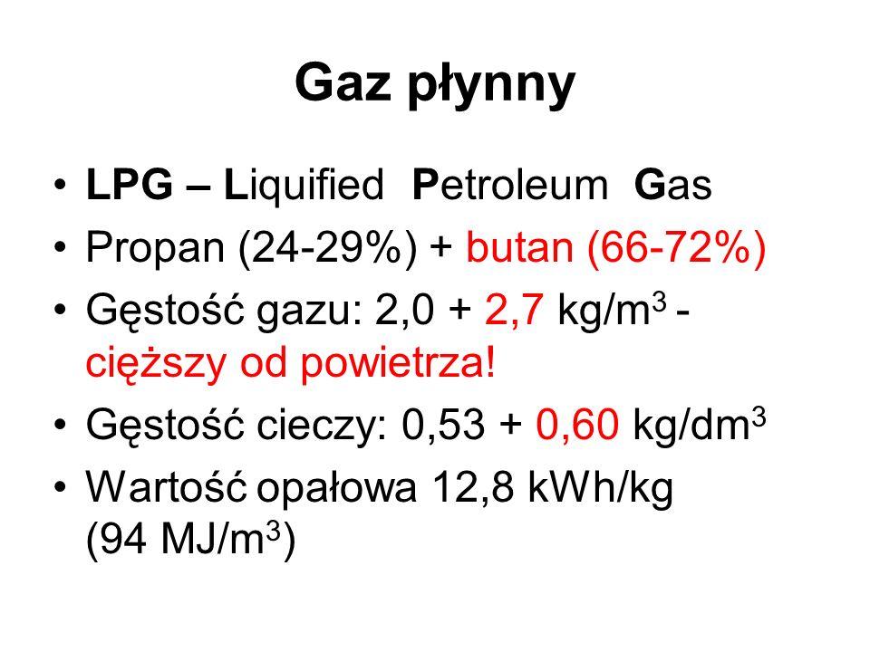 Gaz płynny LPG – Liquified Petroleum Gas Propan (24-29%) + butan (66-72%) Gęstość gazu: 2,0 + 2,7 kg/m 3 - cięższy od powietrza! Gęstość cieczy: 0,53