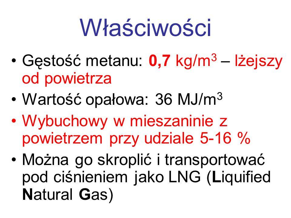 Właściwości Gęstość metanu: 0,7 kg/m 3 – lżejszy od powietrza Wartość opałowa: 36 MJ/m 3 Wybuchowy w mieszaninie z powietrzem przy udziale 5-16 % Możn