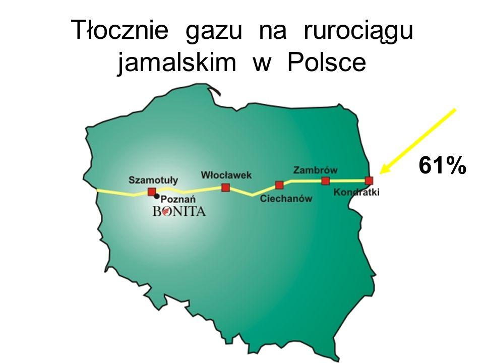 Tłocznie gazu na rurociągu jamalskim w Polsce 61%