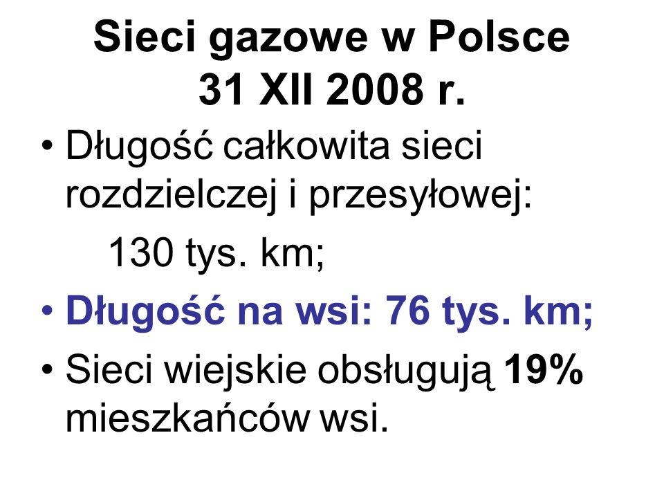 Sieci gazowe w Polsce 31 XII 2008 r. Długość całkowita sieci rozdzielczej i przesyłowej: 130 tys. km; Długość na wsi: 76 tys. km; Sieci wiejskie obsłu