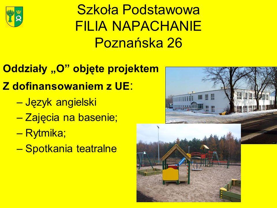 Szkoła Podstawowa FILIA NAPACHANIE Poznańska 26 Oddziały O objęte projektem Z dofinansowaniem z UE : –Język angielski –Zajęcia na basenie; –Rytmika; –