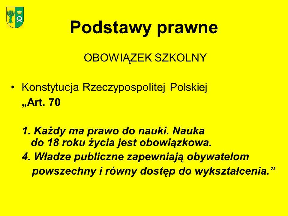Podstawy prawne OBOWIĄZEK SZKOLNY Konstytucja Rzeczypospolitej Polskiej Art. 70 1. Każdy ma prawo do nauki. Nauka do 18 roku życia jest obowiązkowa. 4