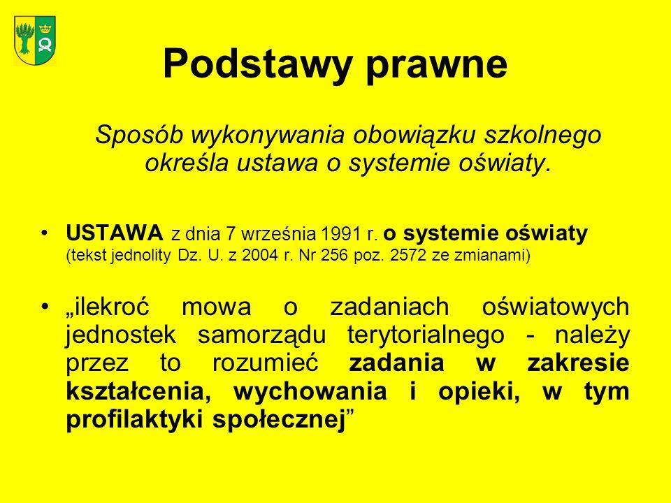 Podstawy prawne USTAWA z dnia 7 września 1991 r.o systemie oświaty Art.
