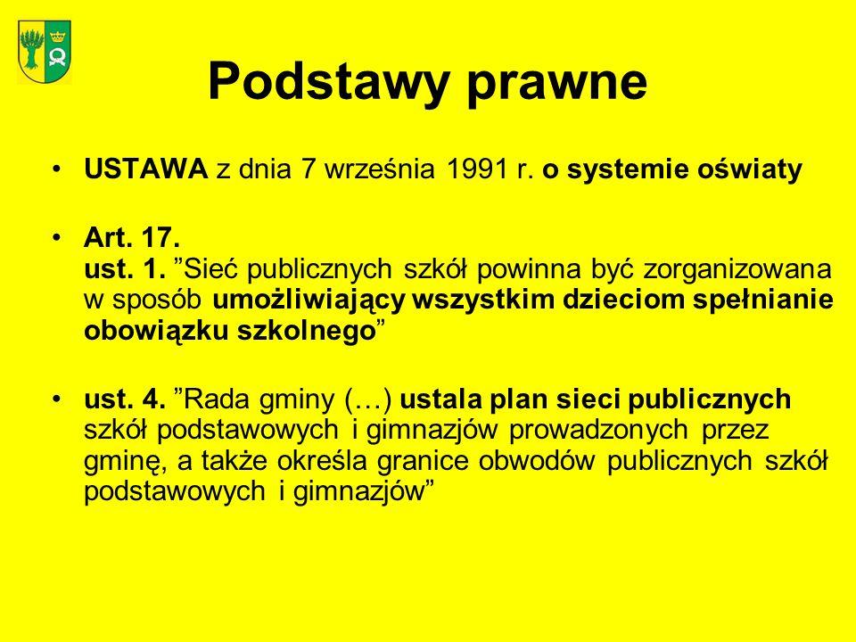 Podstawy prawne USTAWA z dnia 7 września 1991 r. o systemie oświaty Art. 17. ust. 1. Sieć publicznych szkół powinna być zorganizowana w sposób umożliw