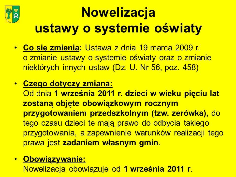 Nowelizacja ustawy o systemie oświaty Co się zmienia: Ustawa z dnia 19 marca 2009 r.
