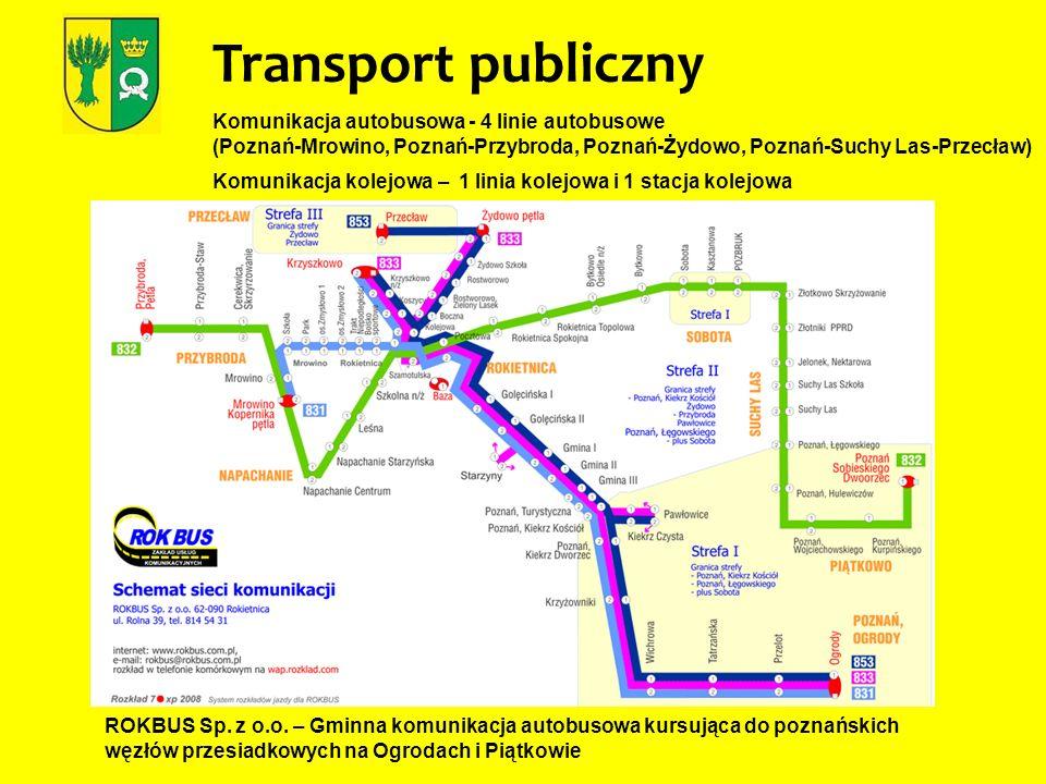 Transport publiczny Komunikacja autobusowa - 4 linie autobusowe (Poznań-Mrowino, Poznań-Przybroda, Poznań-Żydowo, Poznań-Suchy Las-Przecław) Komunikac