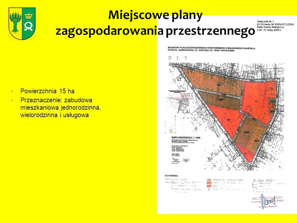 Miejscowe plany zagospodarowania przestrzennego Powierzchnia 15 ha Przeznaczenie: zabudowa mieszkaniowa jednorodzinna, wielorodzinna i usługowa
