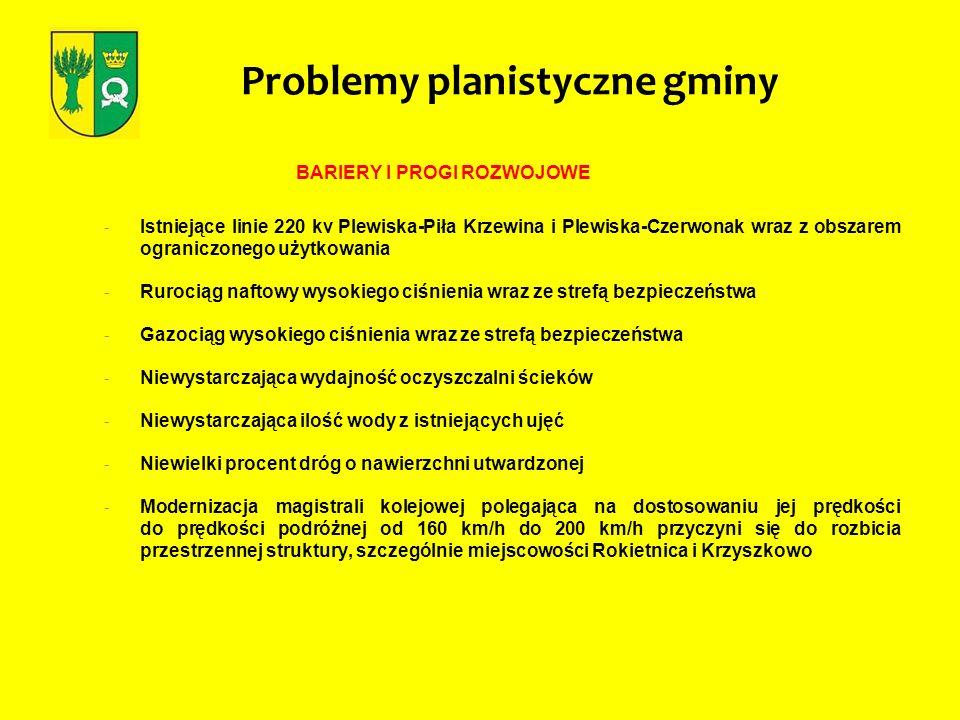 BARIERY I PROGI ROZWOJOWE - Istniejące linie 220 kv Plewiska-Piła Krzewina i Plewiska-Czerwonak wraz z obszarem ograniczonego użytkowania - Rurociąg n