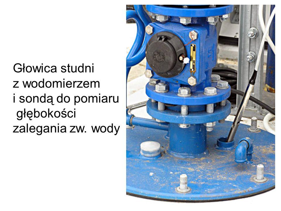 Głowica studni z wodomierzem i sondą do pomiaru głębokości zalegania zw. wody
