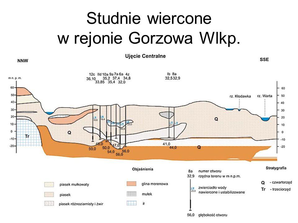 Studnie wiercone w rejonie Gorzowa Wlkp.