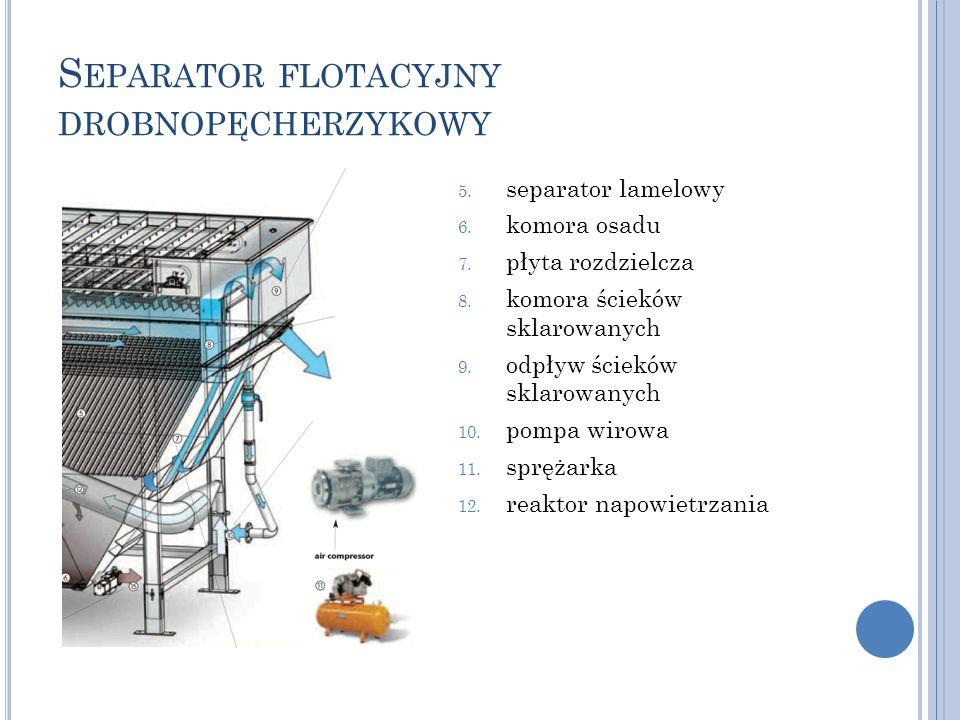 S EPARATOR FLOTACYJNY DROBNOPĘCHERZYKOWY 5. separator lamelowy 6. komora osadu 7. płyta rozdzielcza 8. komora ścieków sklarowanych 9. odpływ ścieków s