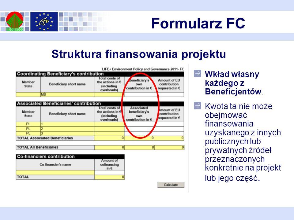 Formularz FC Struktura finansowania projektu Wkład własny każdego z Beneficjentów.