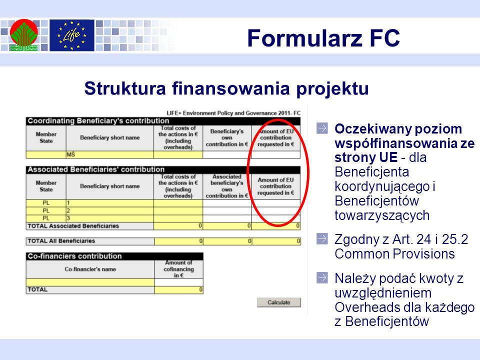 Formularz FC Struktura finansowania projektu Oczekiwany poziom współfinansowania ze strony UE - dla Beneficjenta koordynującego i Beneficjentów towarzyszących Zgodny z Art.