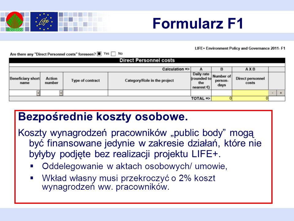 Formularz F1 Bezpośrednie koszty osobowe.